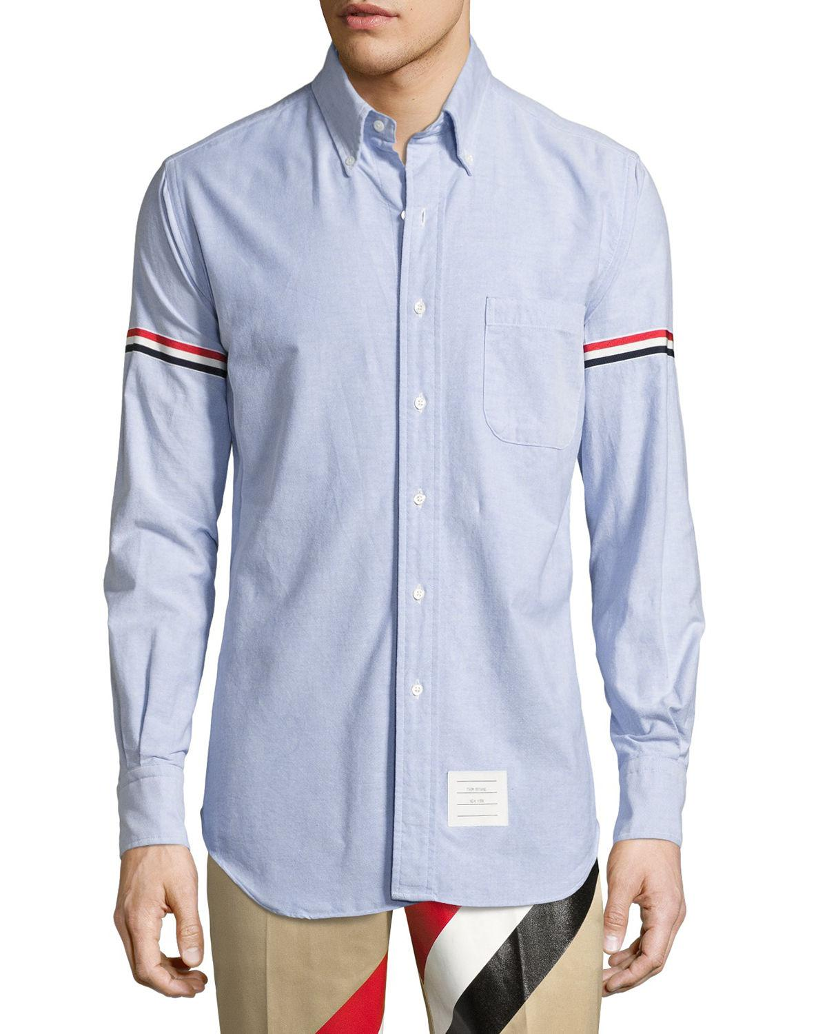 e1b06acc3e9 Thom Browne Classic Arm-stripe Long-sleeve Oxford Shirt in Blue for ...