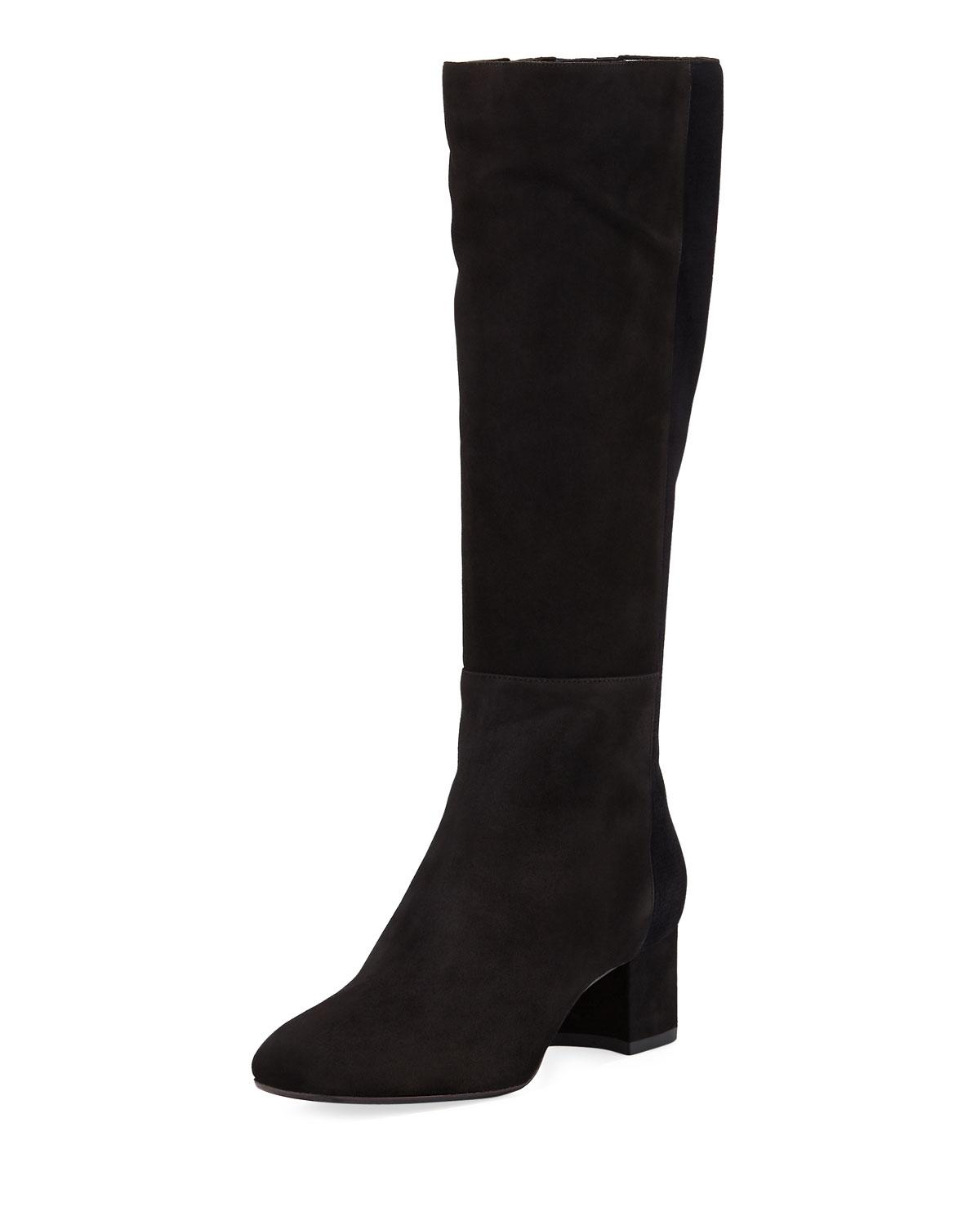 Aquatalia Julie Mixed Suede and Velvet Tall Boot 6uCbAe