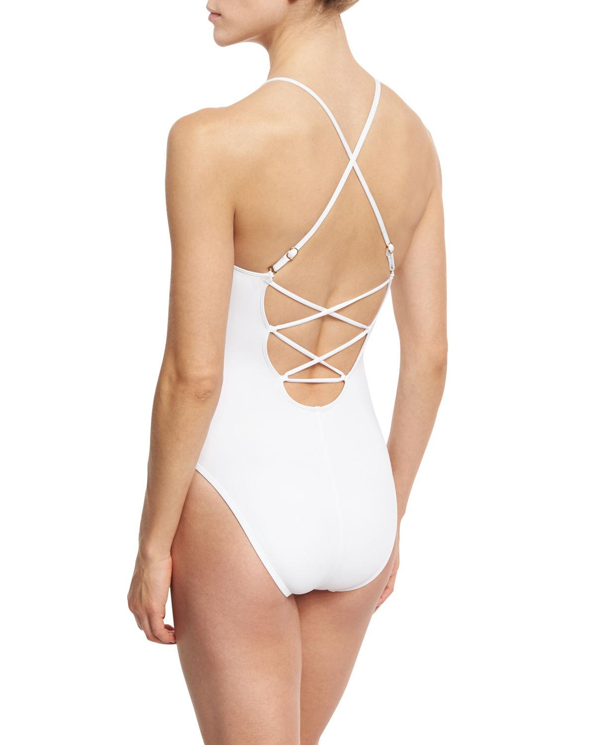 c102e924689 Lyst - La Blanca High-neck Lace-up Front One-piece Swimsuit in White