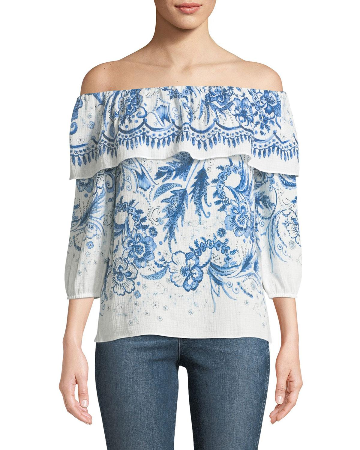 5d265399446bf Lyst - Bailey 44 Farmers Market Off-the-shoulder Printed Cotton Top ...