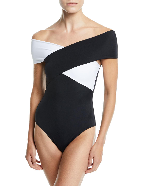 99cfaa68ff0 Lyst - OYE Swimwear Zenia Off-the-shoulder One-piece Swimsuit in Black
