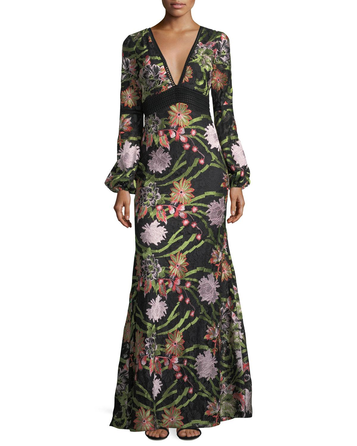 Lyst - Badgley Mischka Boho Floral Crochet Lace Evening Gown in ...