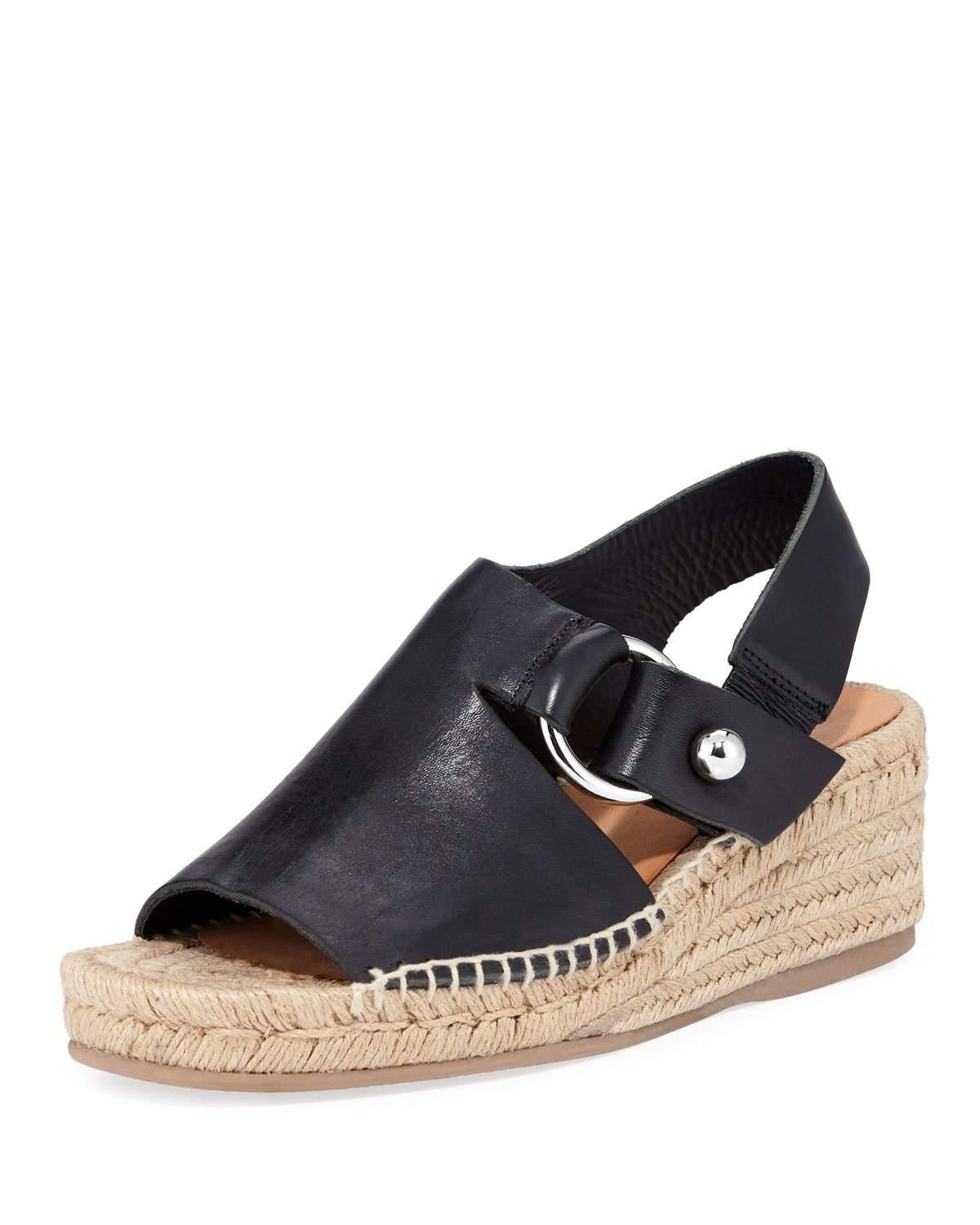 076b1dece79 Lyst - Rag   Bone Arc Leather Espadrille Wedge Sandals in Black