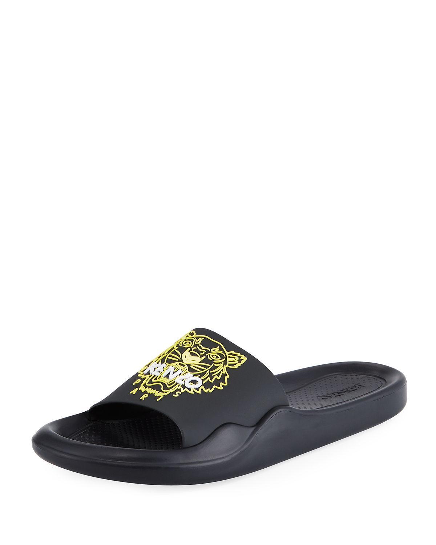 9111e022b99d KENZO - Black Men s Logo Eva Pool Slide Sandals for Men - Lyst. View  fullscreen