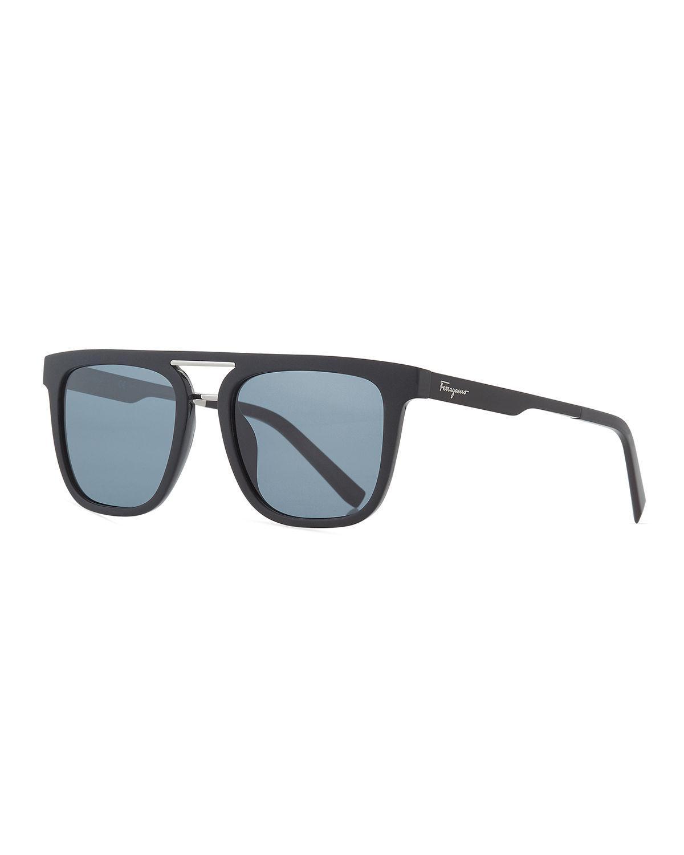 65e271dd4e9 Lyst - Ferragamo Men s Square Double-bridge Sunglasses in Black for Men