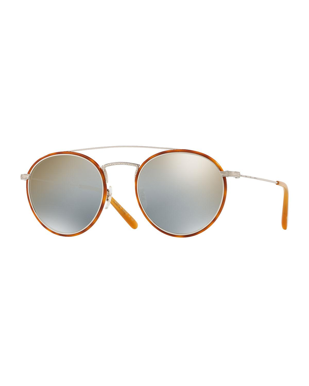 68e8dd9859b0 Oliver Peoples. Brown Men s Row Ellice Round Metal acetate Sunglasses