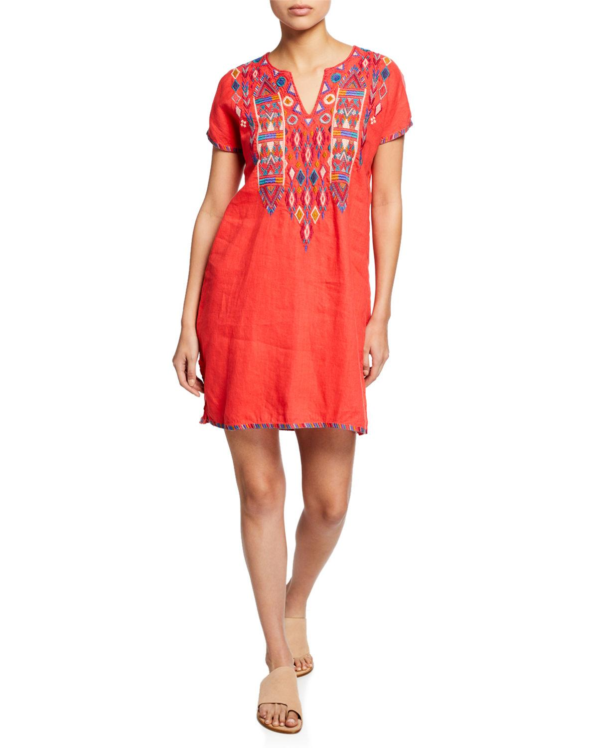 06481dab7c4 Johnny Was. Women's Plus Size Etienne Embroidered Short-sleeve Easy Linen Tunic  Dress