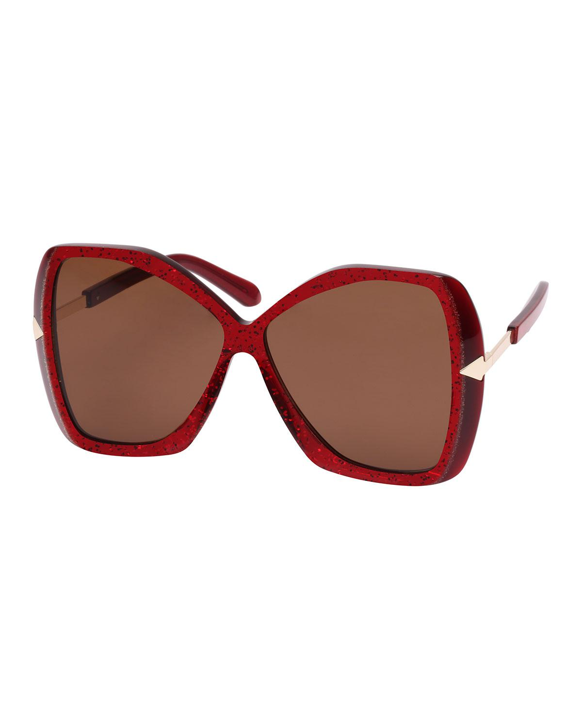 a81095243d Lyst - Karen Walker Mary Acetate Butterfly Sunglasses Red Pattern in ...