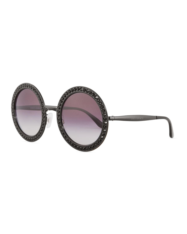 d508fef2bc61 Lyst - Dolce   Gabbana Oversized Round Metal Swarovski® Sunglasses ...