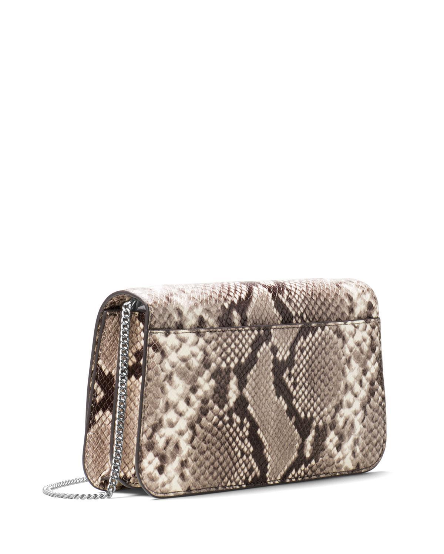 4a84350d150d47 MICHAEL Michael Kors Mott Python-embossed Clutch Bag in Natural - Lyst