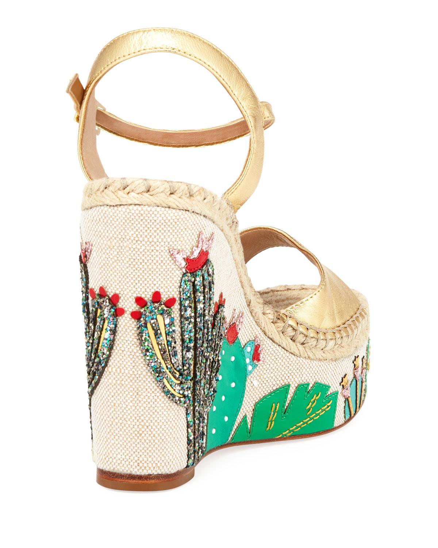 c65d61cdf3d5 Lyst - Kate Spade Dallas Cactus Platform Wedge Sandal in Metallic
