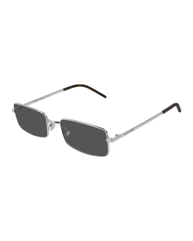 240160e646 Saint Laurent - Metallic Men s Slim Metal Rectangle Sunglasses for Men -  Lyst. View fullscreen