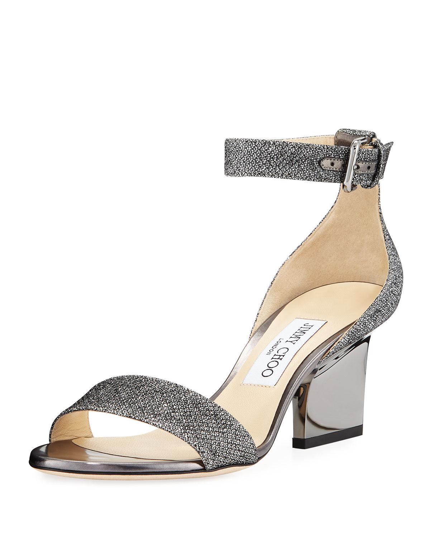 63753daf7ef7 Lyst - Jimmy Choo Edina Metallic Fabric Sandals Gray in Gray - Save 7%