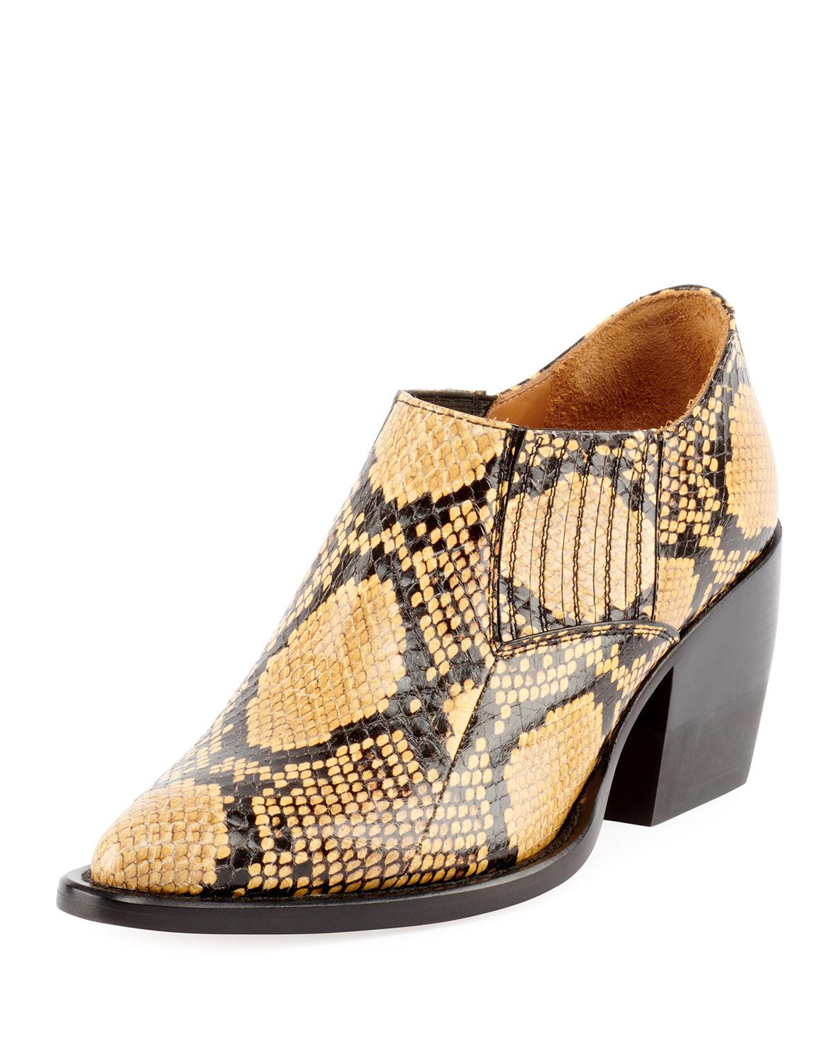 a1bd57c45 Lyst - Chloé Rylee Python-embossed Ankle Bootie in Natural - Save 40%