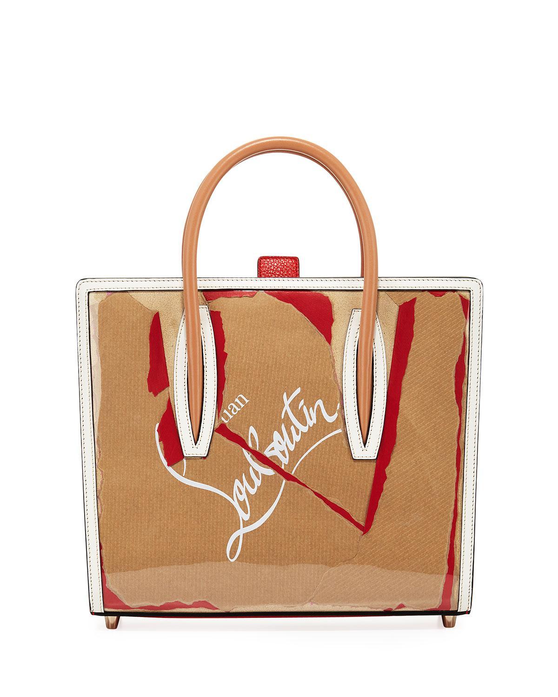 Lyst - Christian Louboutin Paloma Medium Kraft Loubi Tote Bag in Red 69514589bf391