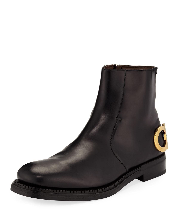 96b9c4fee0 Lyst - Ferragamo Men s Bankley Gancini-heel Leather Boots in Black ...