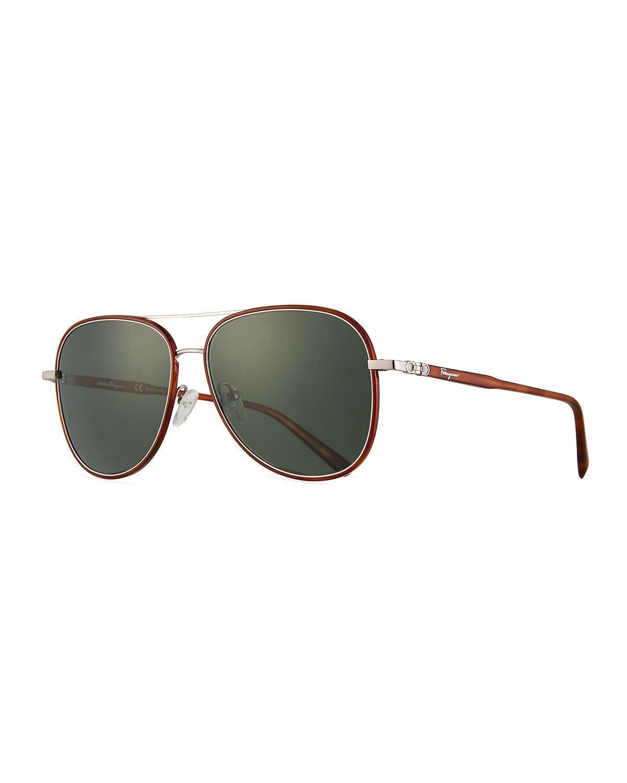 42735305e0d Lyst - Ferragamo Men s Metal Double-gancio Aviator Sunglasses in ...
