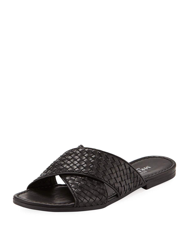 6e375e97cc36 Lyst - Sesto Meucci Nera Flat Woven Napa Leather Slide Sandal in Black