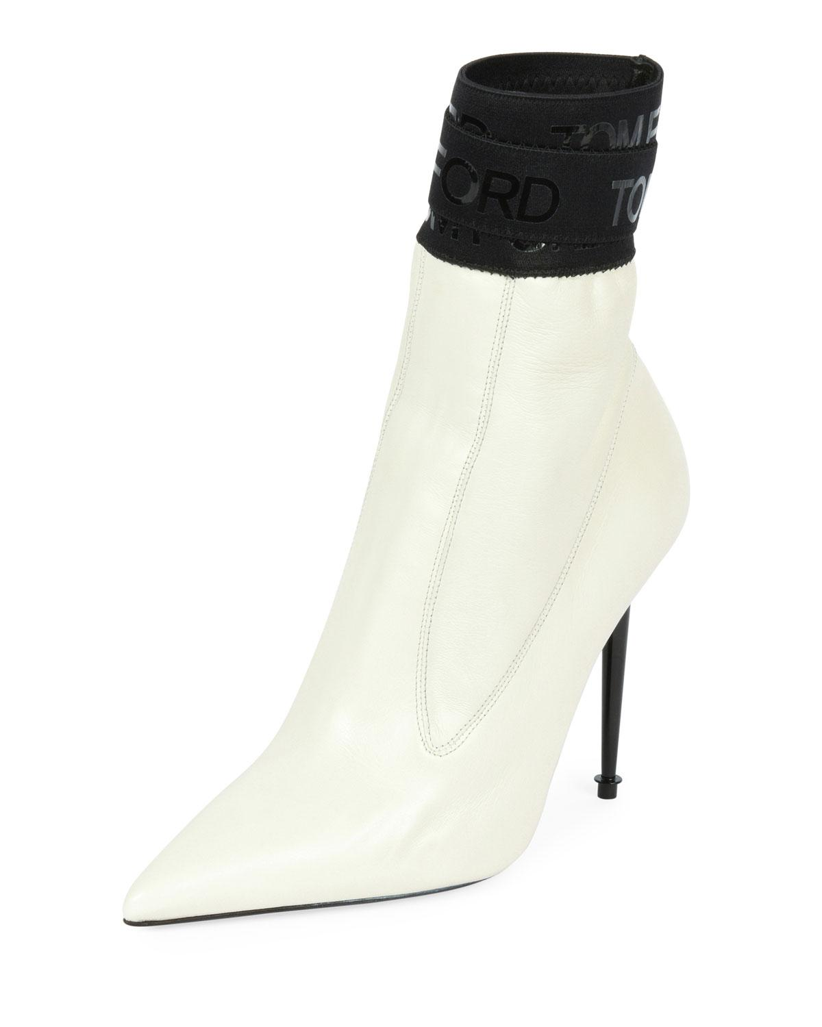 82da4fdffad Lyst - Tom Ford Smooth Booties With Tf Stretch-trim in White