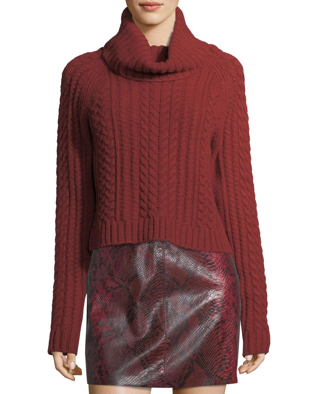 Alice   olivia Tobin Cable-knit Cropped Turtleneck Sweater in Red ...