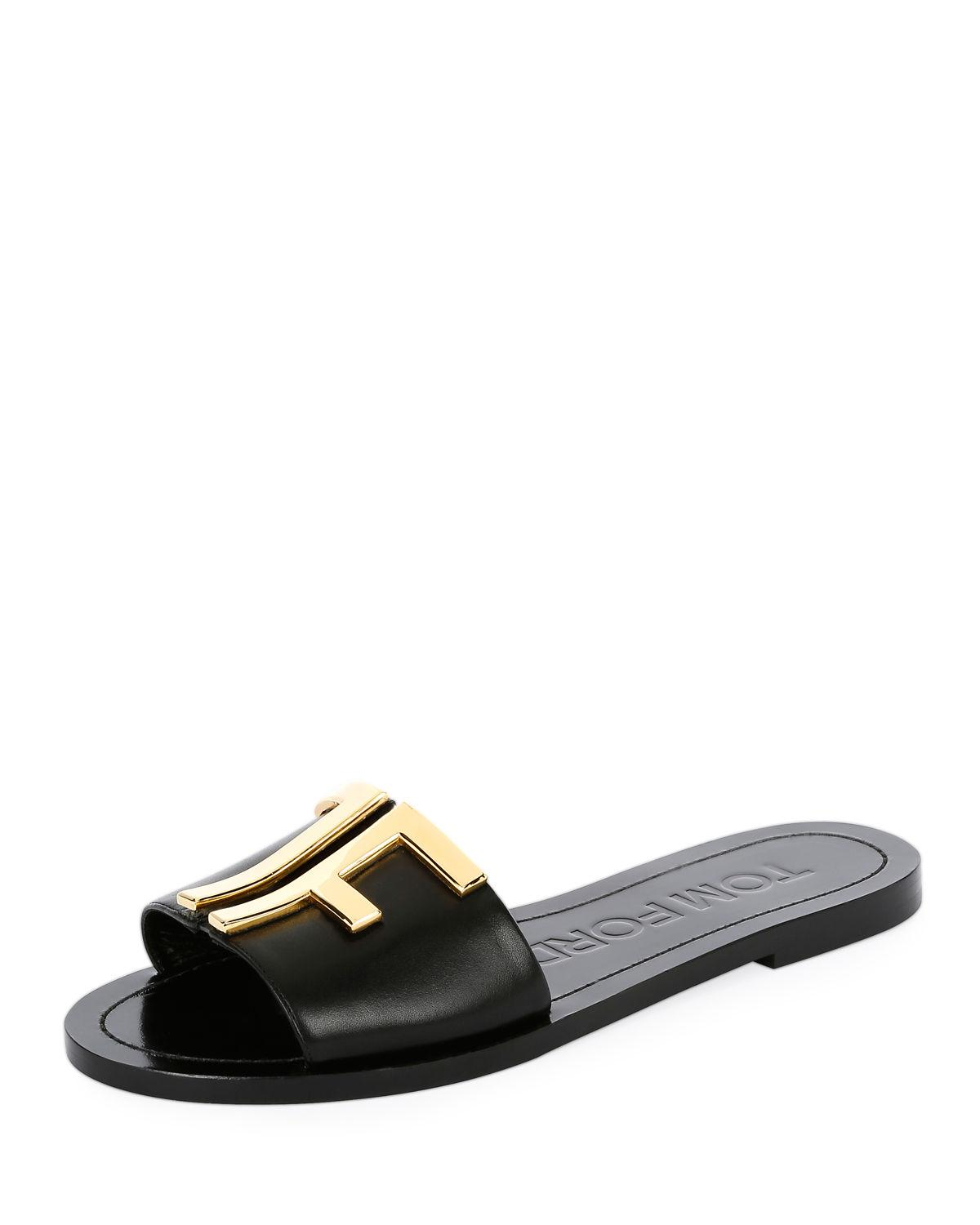987ef44f219002 Lyst - Tom Ford Tf Flat Slide Sandals in Black