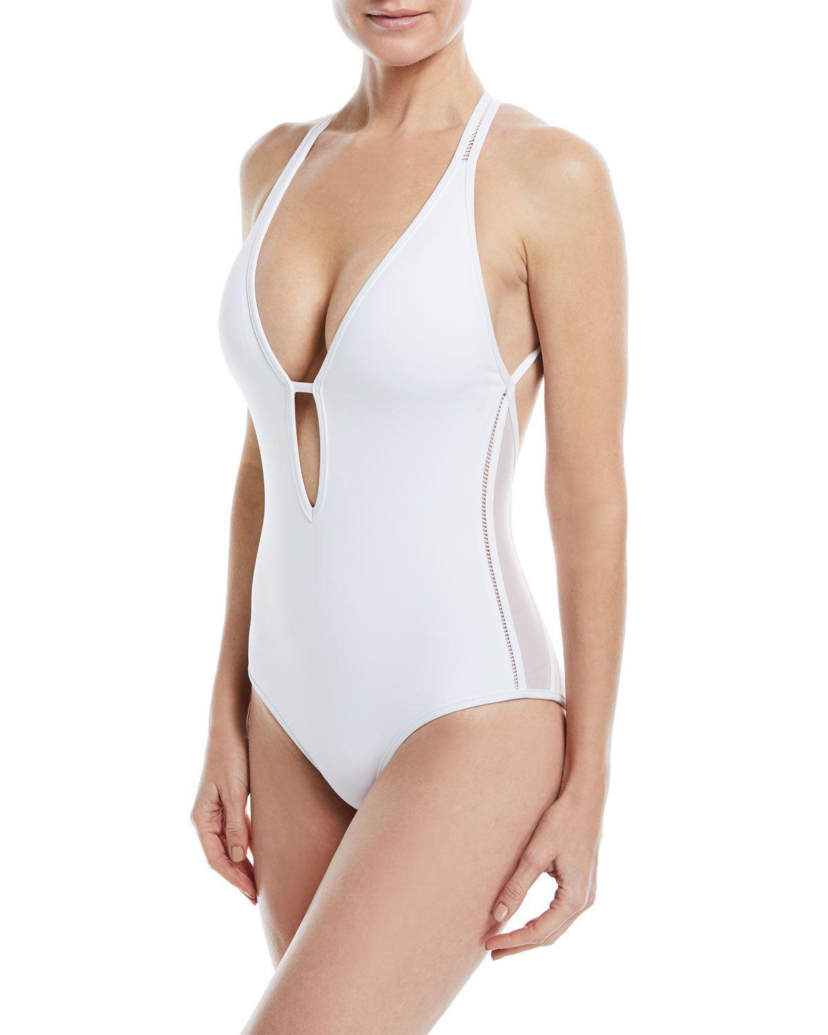 4ecbff9321da9 Jets by Jessika Allen. Women s White Aspire Plunge Strappy One-piece  Swimsuit
