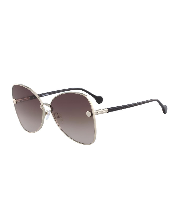 ce4456693e Lyst - Ferragamo Fiore Gradient Cat-eye Sunglasses in Brown