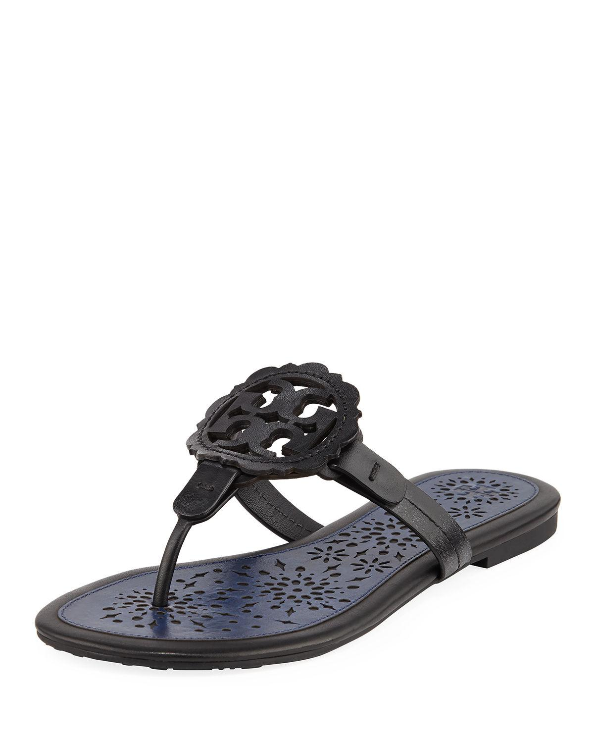 10bb0ec2983522 Lyst - Tory Burch Women s Miller Scallop Leather Thong Sandals in Blue