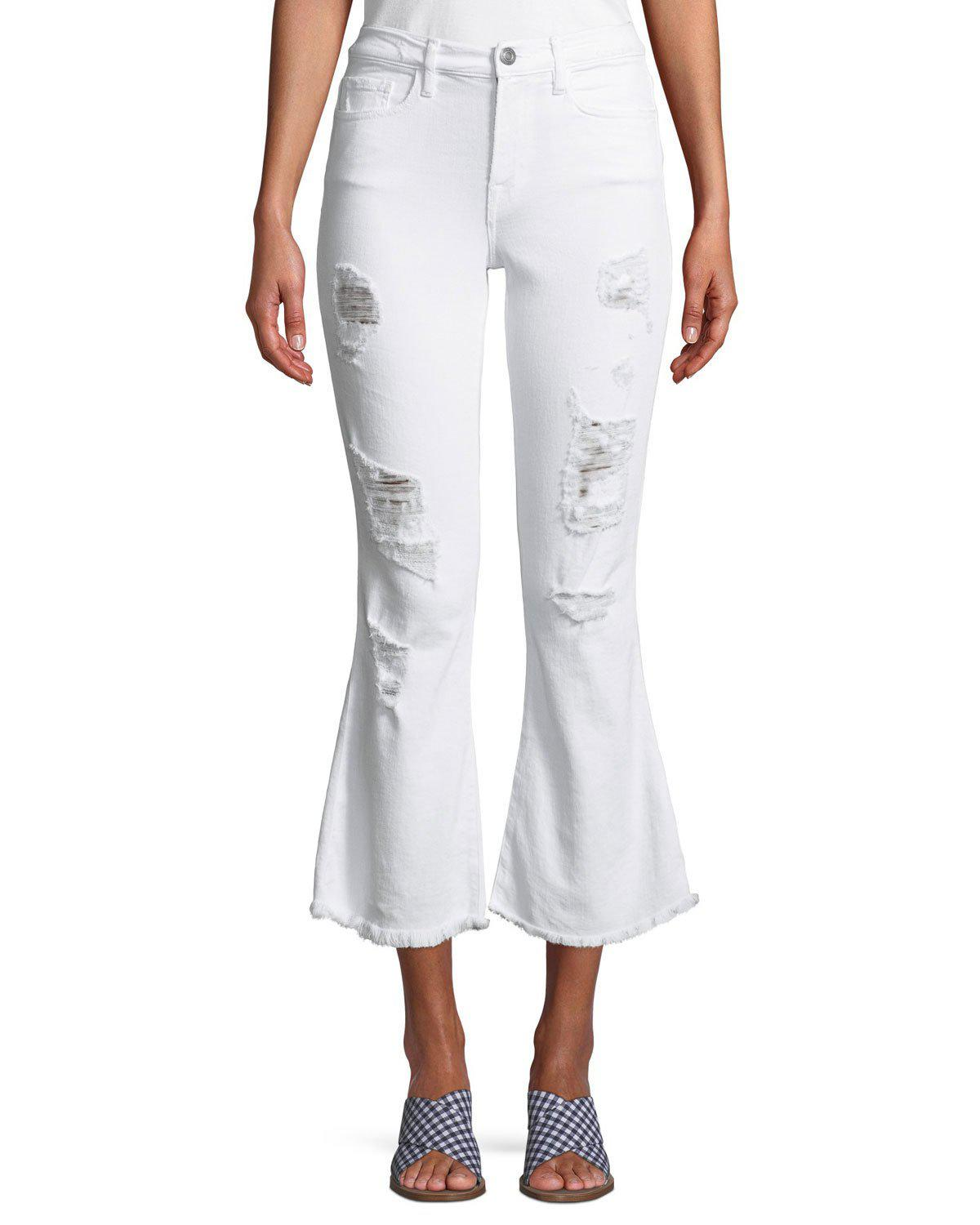 6799e180 Lyst - Etienne Marcel Distressed Flare Cropped Denim Jeans in White