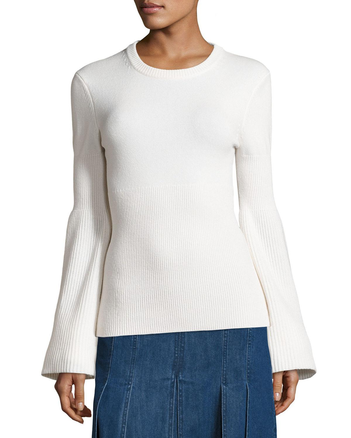 bb89fb81cc Lyst - Michael Kors Cashmere Bell-sleeve Ribbed Sweater in White