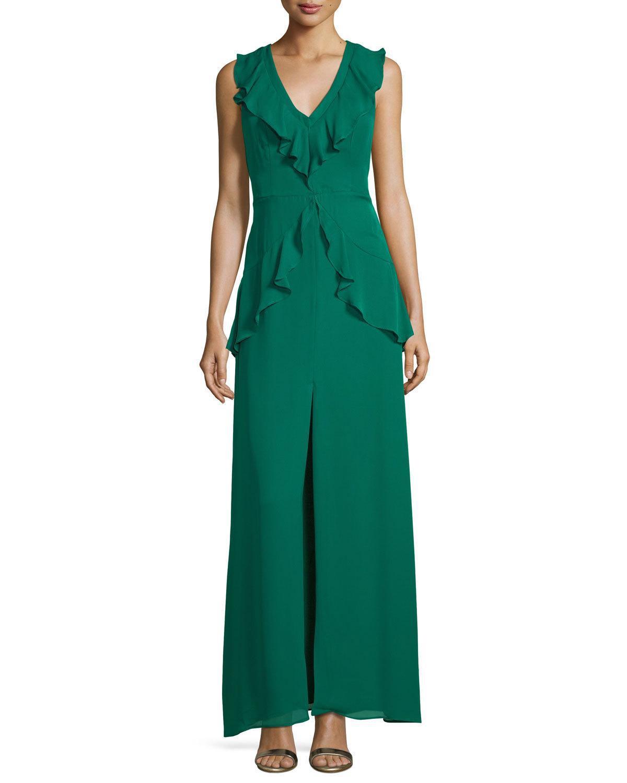 Lyst - Parker Black Rossie Deep-v Sleeveless Column Evening Gown W ...