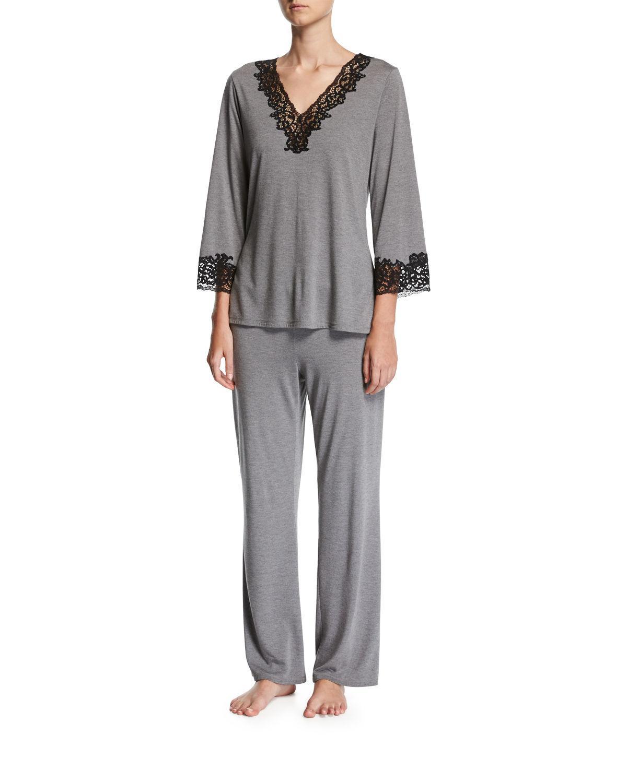 f0030b17ff Lyst - Natori Lhasa Silk Jersey Pajamas in Gray