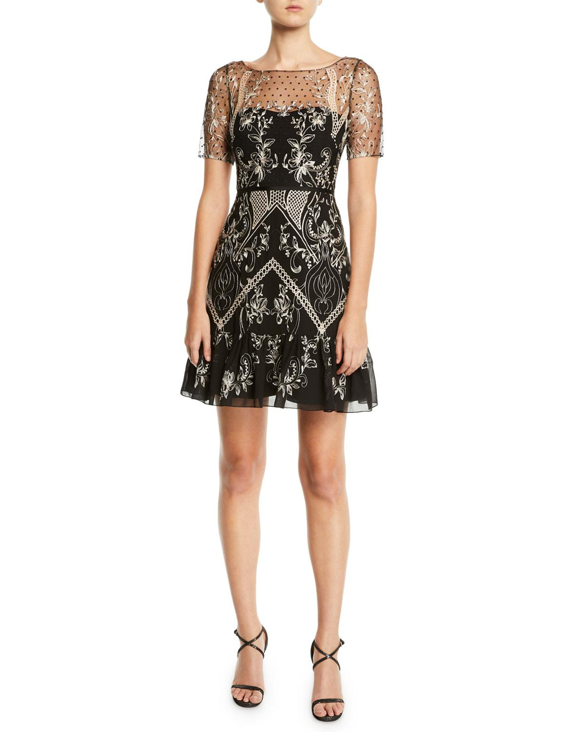 57bdc7deabd Marchesa notte. Women s Black Short-sleeve Dotted Chiffon Cocktail Dress