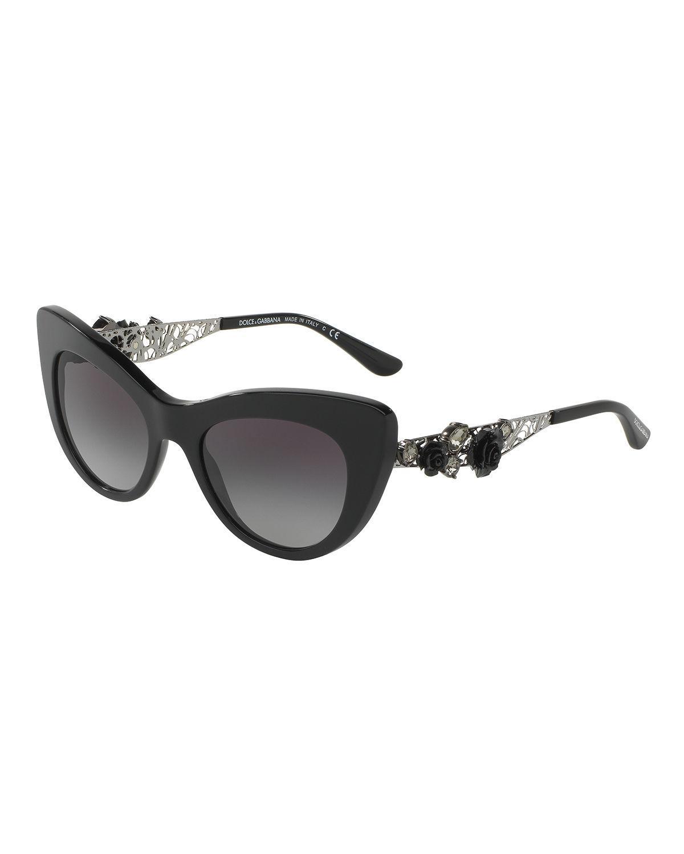 a665a3a87d5 Lyst - Dolce   Gabbana Flowers Lace Gradient Cat-eye Sunglasses in Black