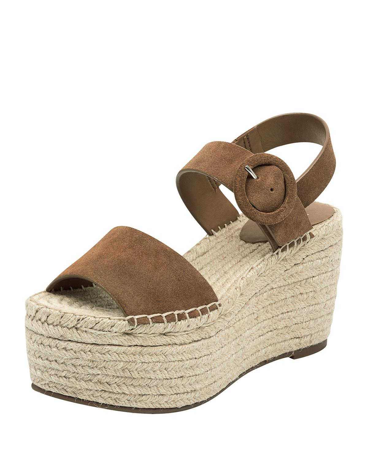 cd198fe2b4c Lyst - Marc Fisher Rex Suede Wedge Sandals in Brown