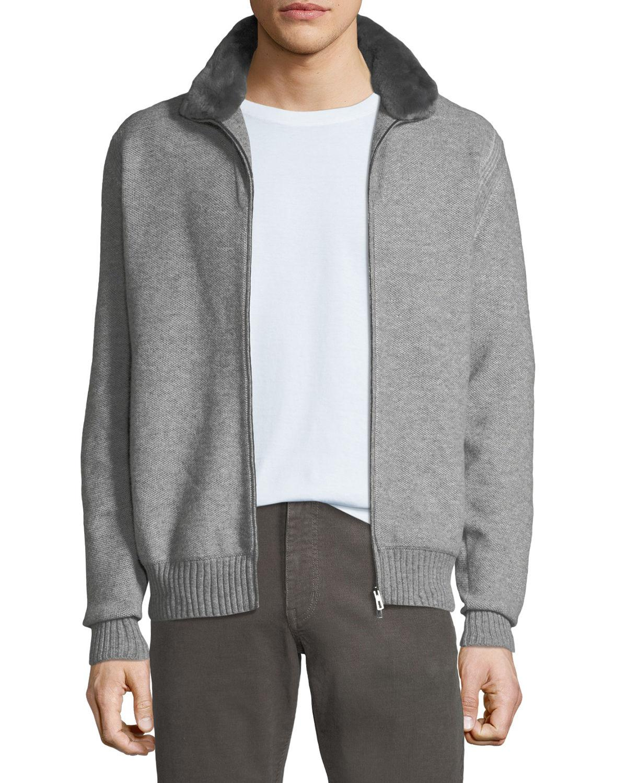 66e2ea4e39e0 Loro Piana Men s Fur-trim Cashmere Bomber Cardigan Sweater in Gray ...