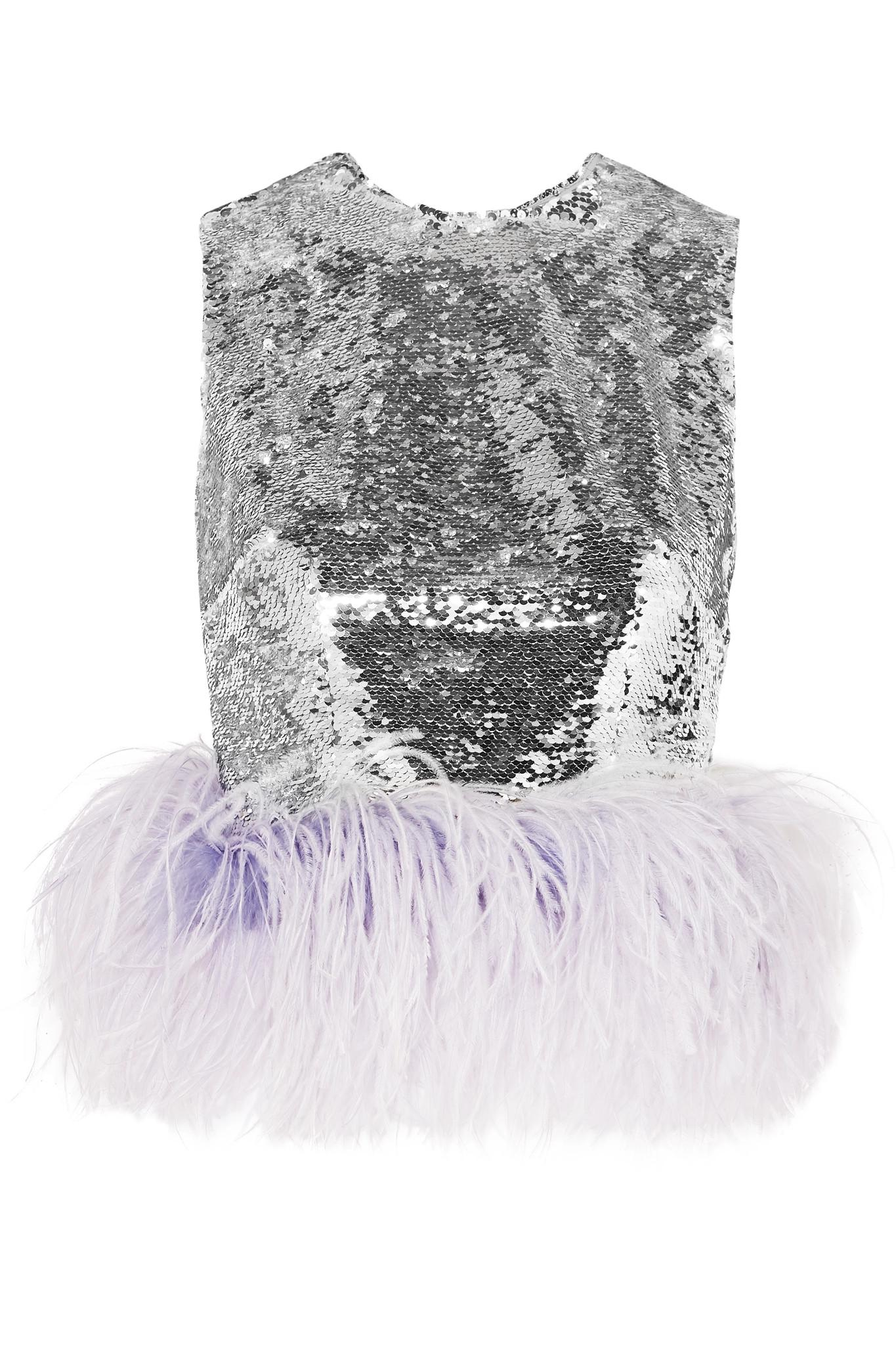 bfc782be4ae60 16Arlington Feather-trimmed Sequined Tulle Top in Metallic - Lyst