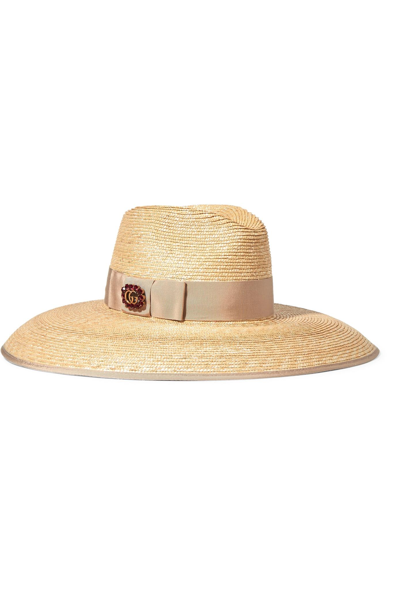 8f4621c1c219a Gucci Embellished Grosgrain-trimmed Straw Hat in Natural - Lyst