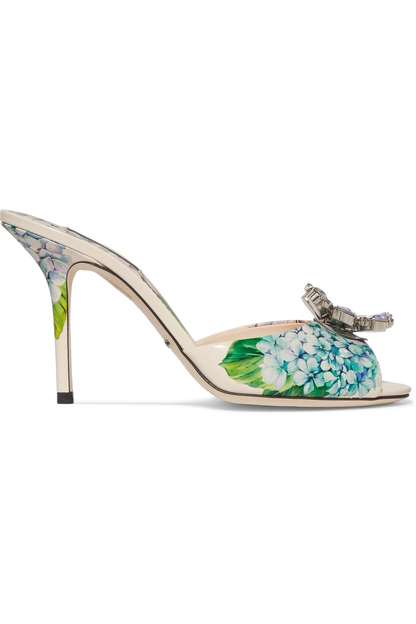 Crystal-embellished Floral-print Patent-leather Slingback Pumps - Blue Dolce & Gabbana