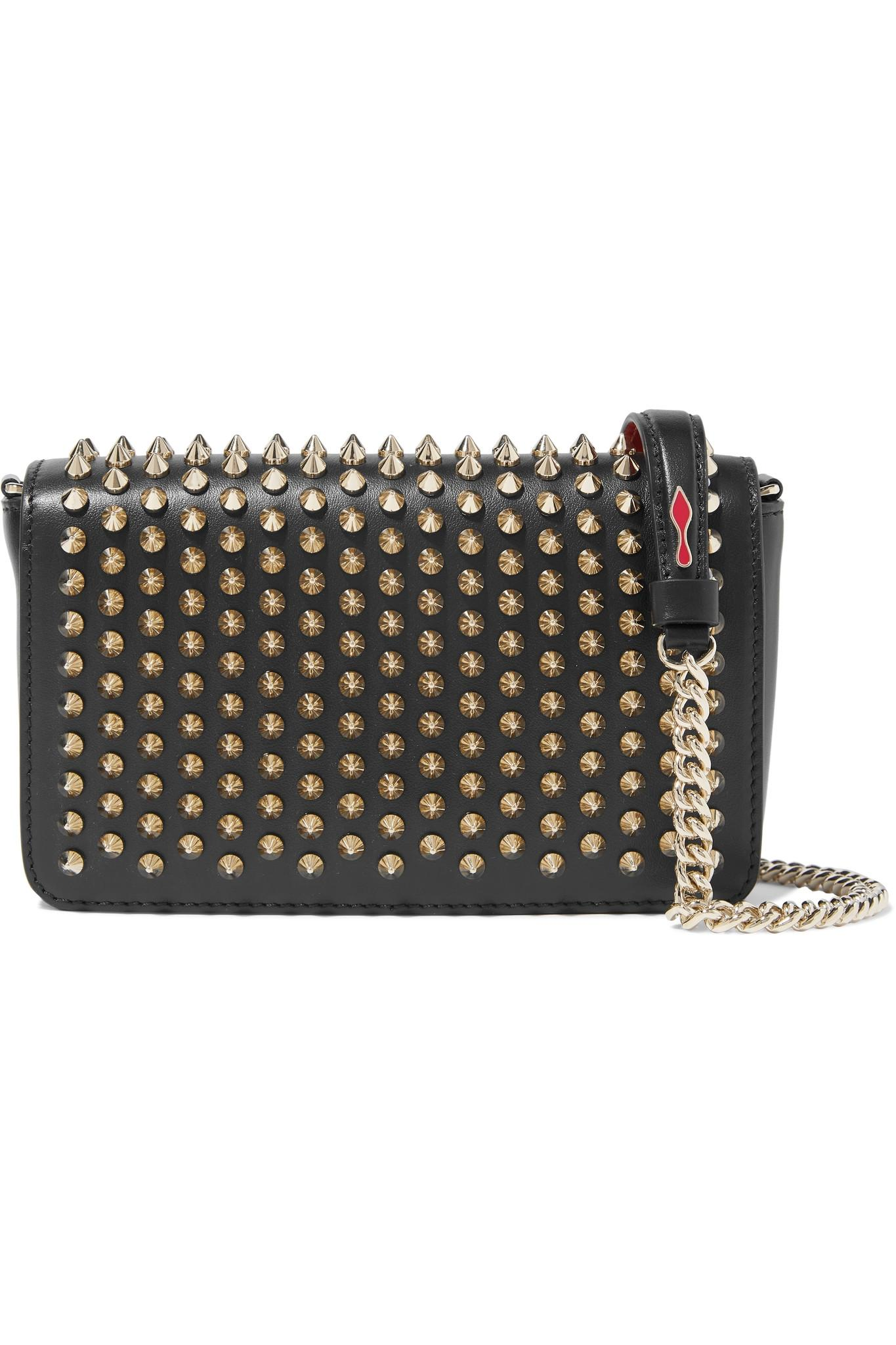 d78027d44f7 Christian Louboutin. Women s Black Zoompouch Spiked Leather Shoulder Bag