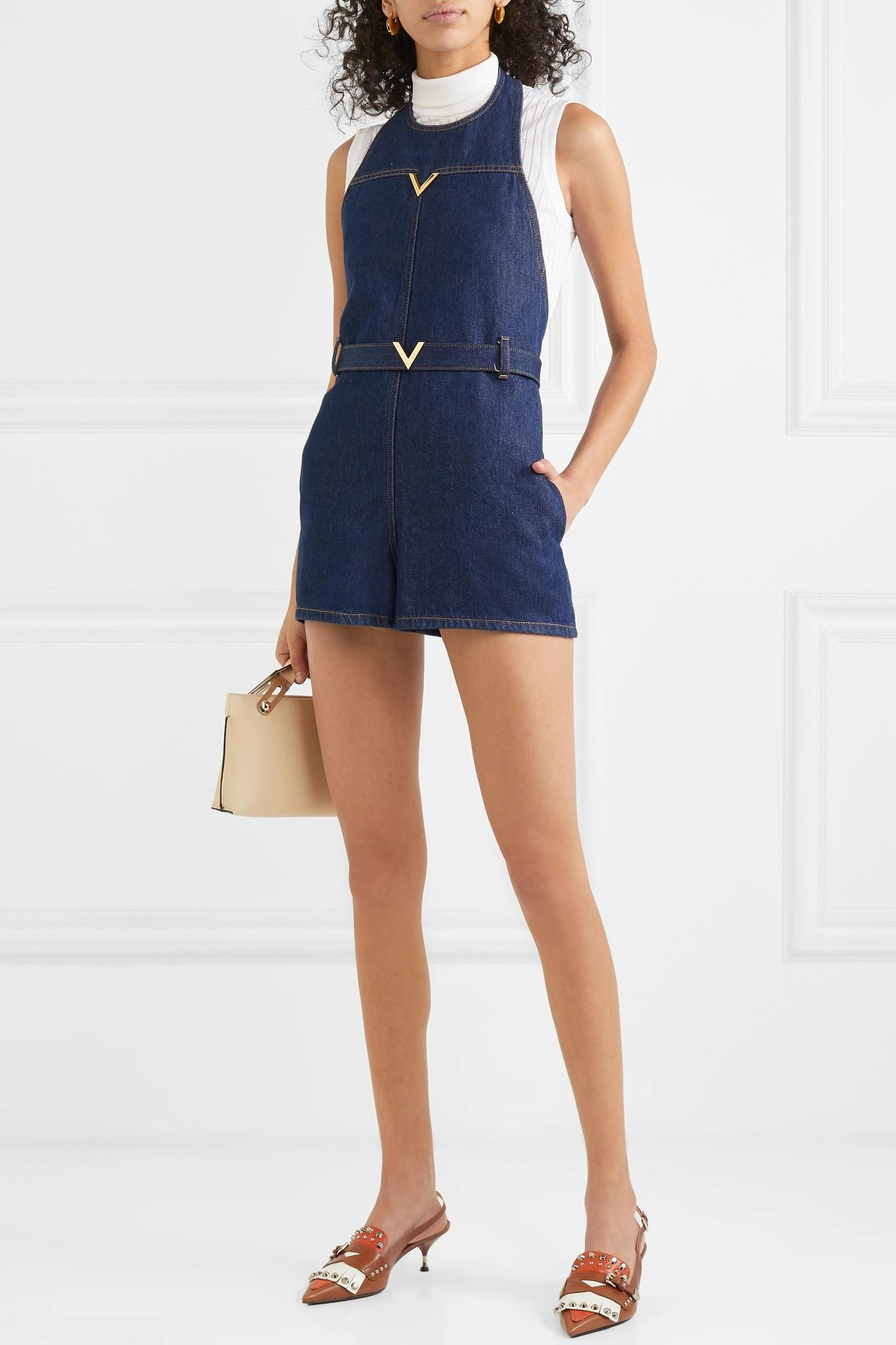 554181e301 Valentino - Blue Embellished Denim Halterneck Playsuit - Lyst. View  fullscreen