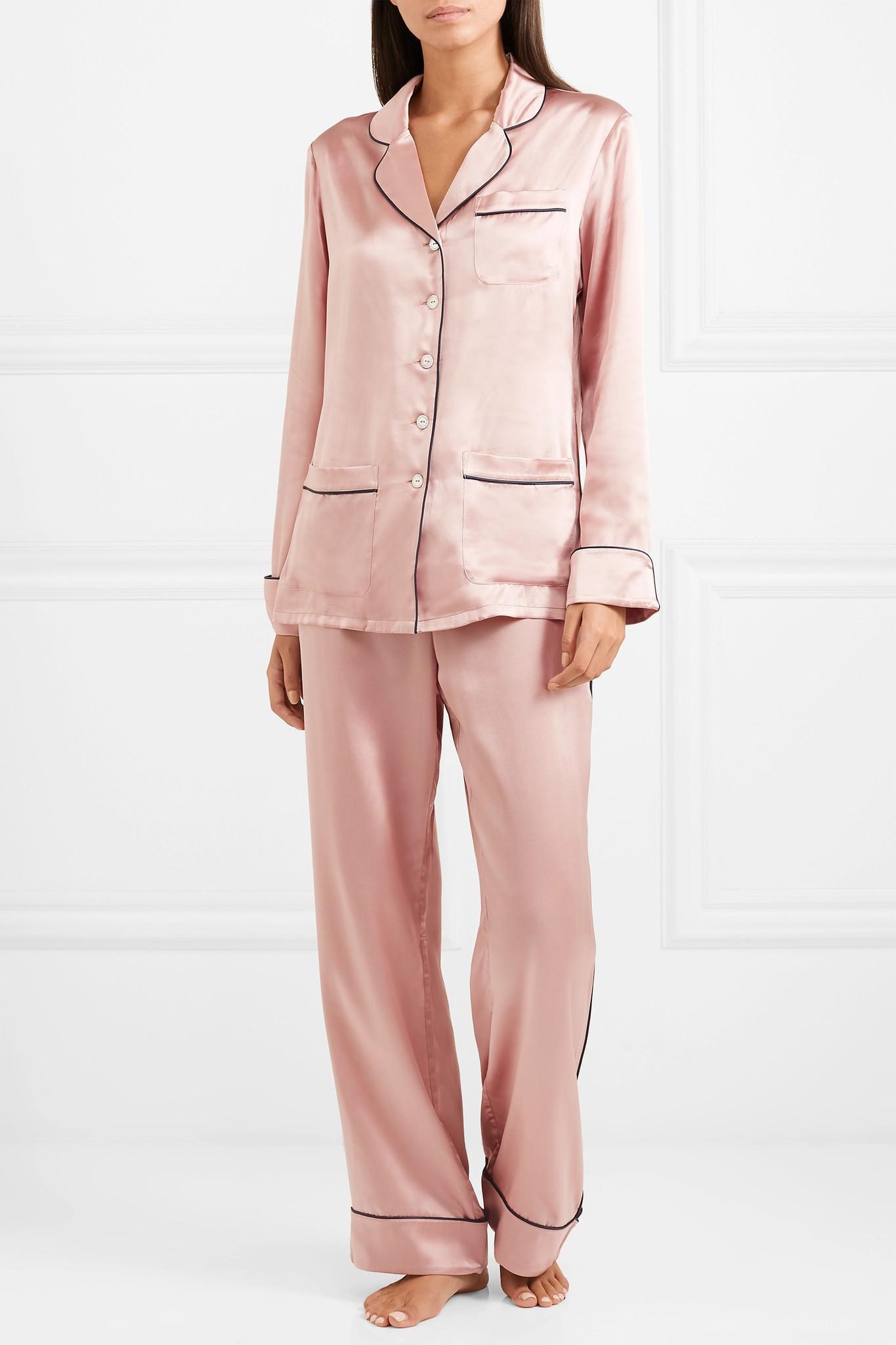 Lyst - Olivia Von Halle Coco Silk-satin Pajama Set in Pink 87448abc3