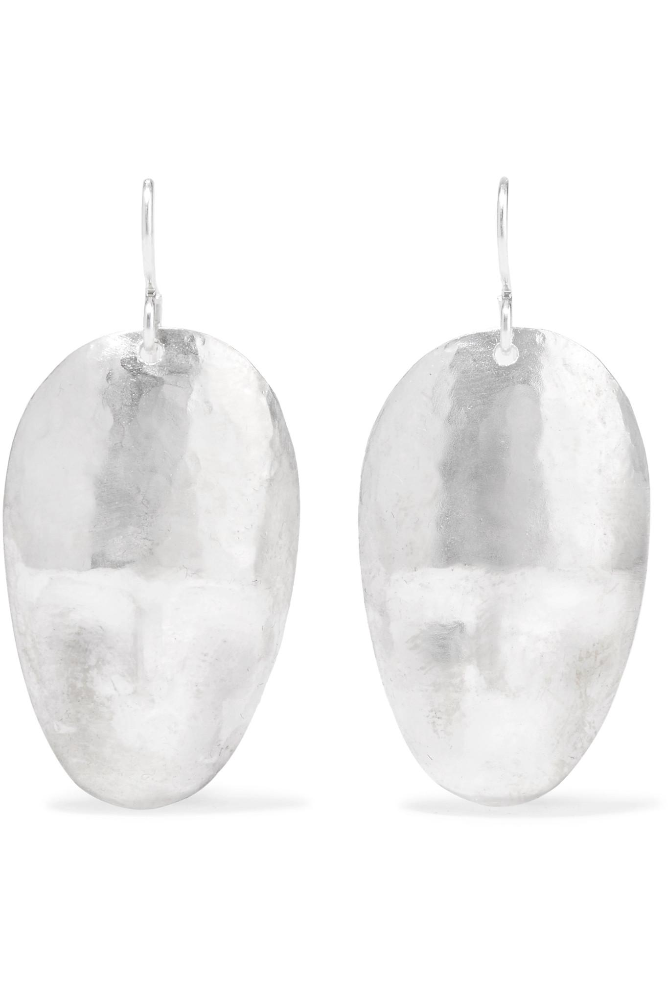 Large Face Silver And Enamel Earrings - Blue Simon Miller 5qPDzT5