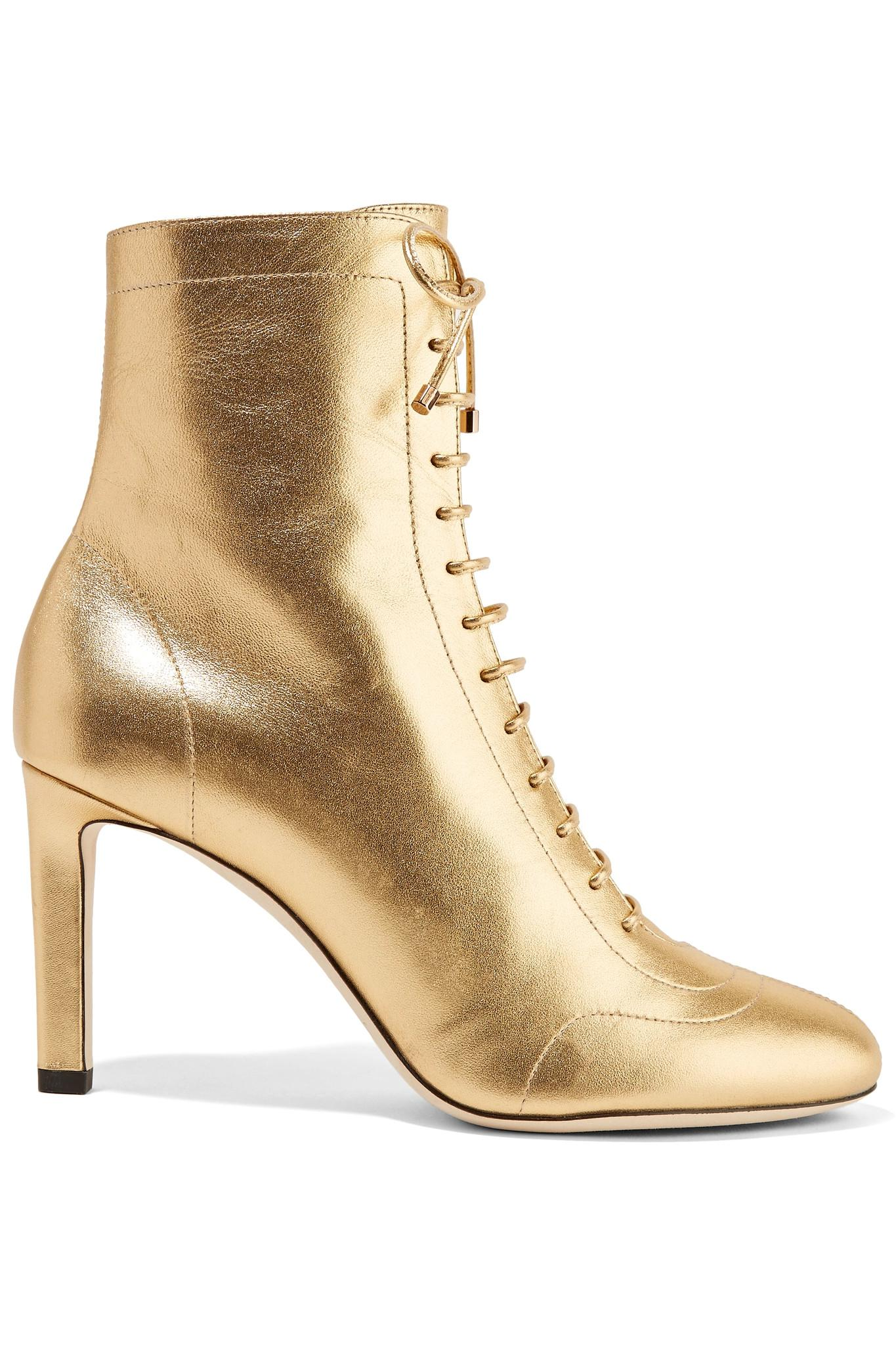 Jimmy Choo Daize 100mm Metallic Leather Bootie j14E0T7R0