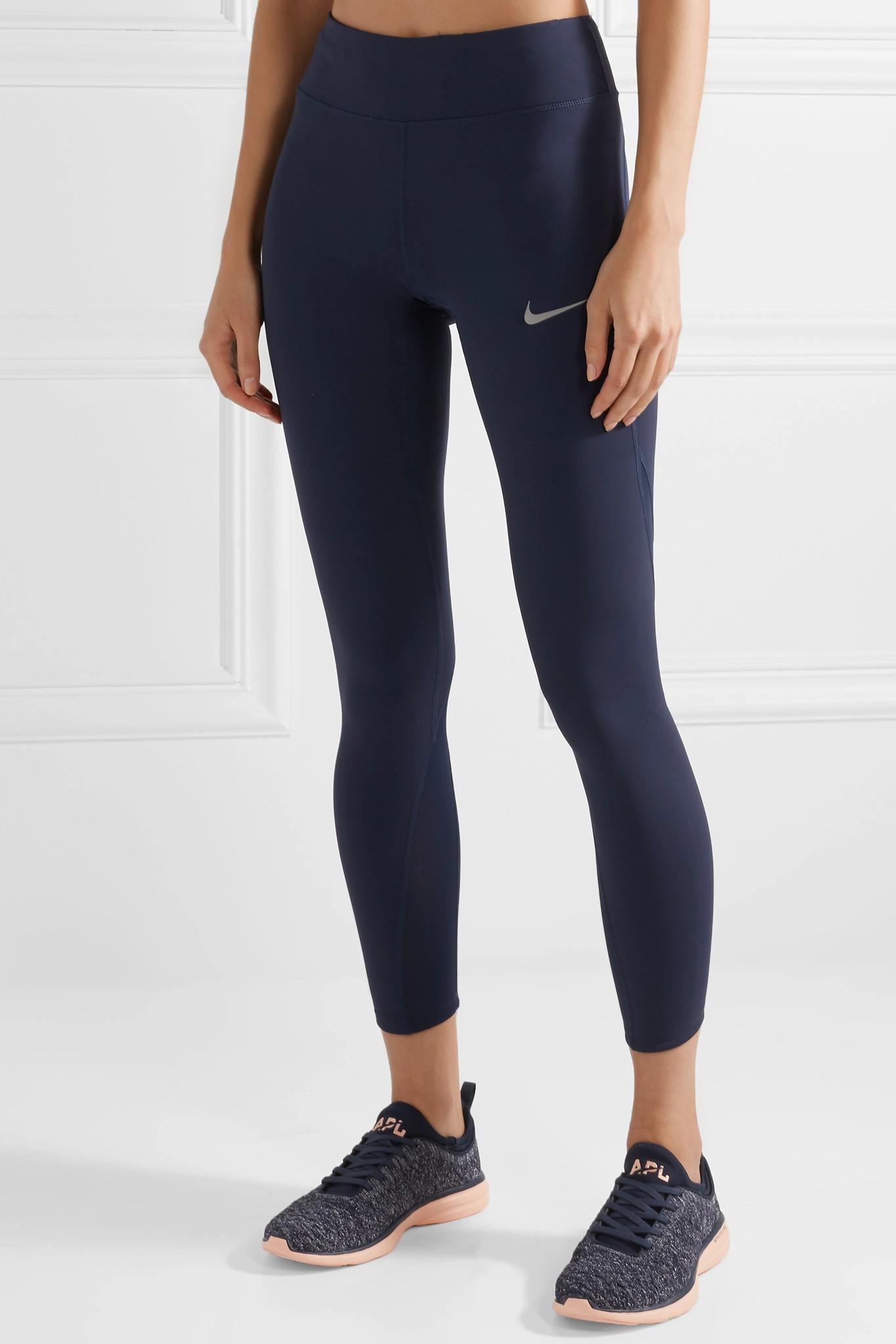 61c267651ff979 Nike Power Epic Lux Mesh-paneled Dri-fit Stretch Leggings in Blue - Lyst