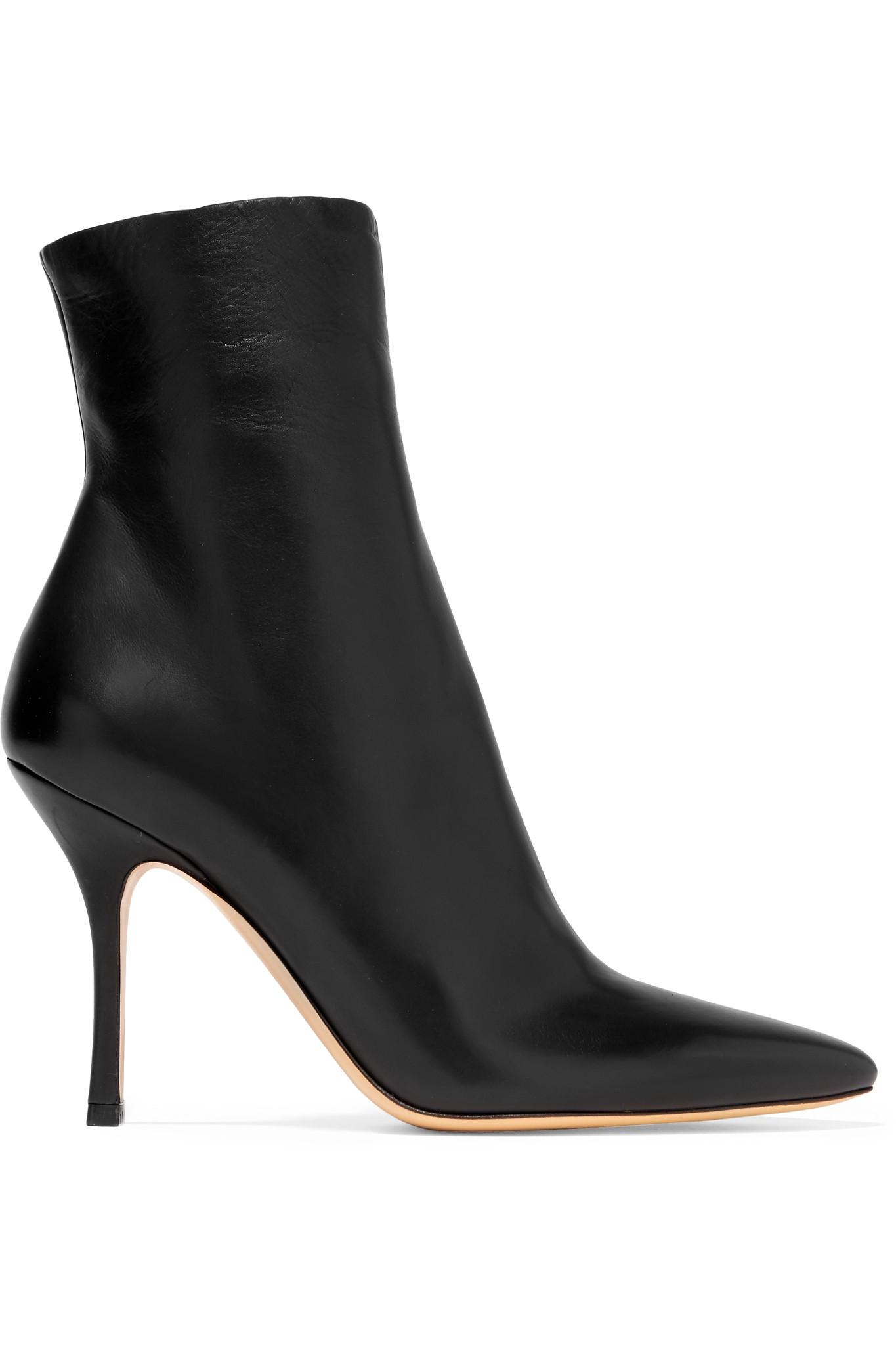 The Row Gloria Leather Ankle Boots in Black - Save 40% - Lyst 42ad4cbe691