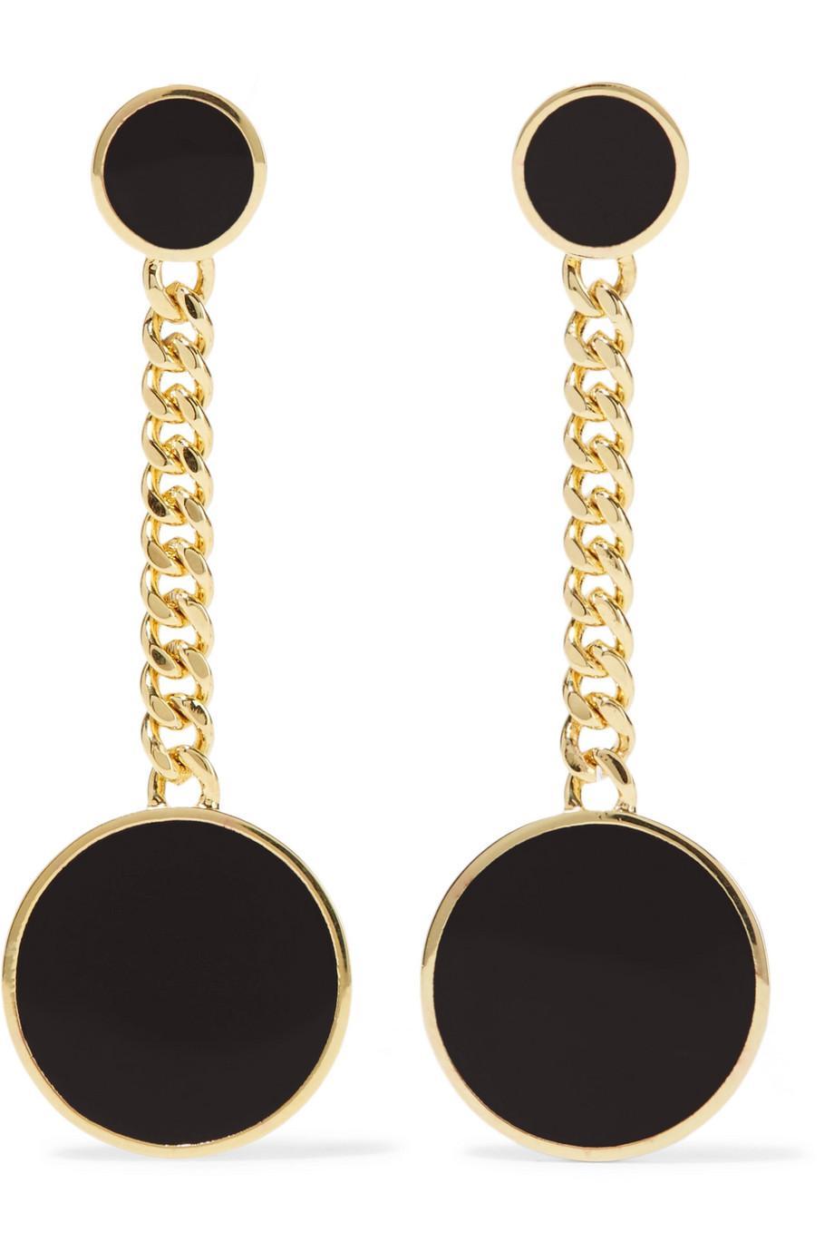 Arme De L'Amour Gold-plated Enamel Earrings - Black 3E7FJ