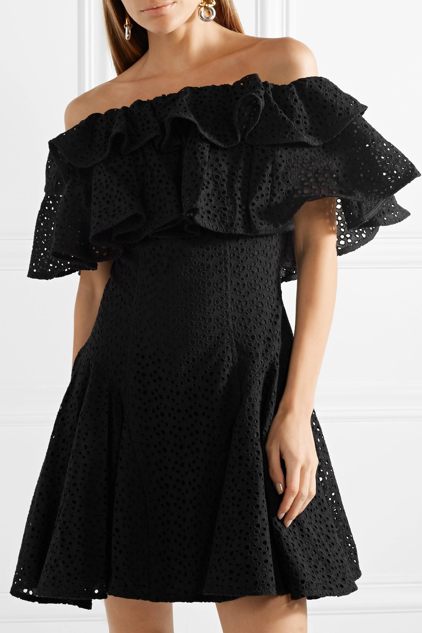 Off-the-shoulder Ruffled Broderie Anglaise Mini Dress - Black House Of Holland