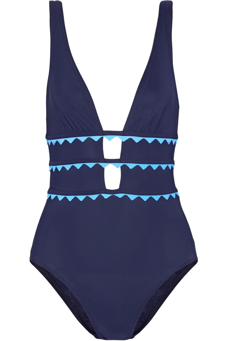 New Wave Appliquéd Cutout Swimsuit - Storm blue Karla Colletto Best Place To Buy Online Cheap Cost Shipping Discount Sale Outlet Locations Sale Online Discount Manchester Great Sale 8PB5PMG