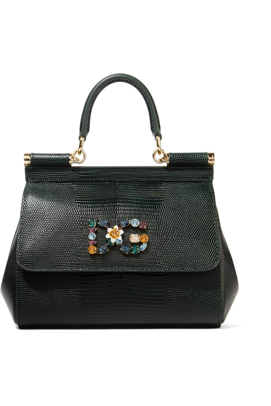Sicily Small Embellished Lizard-effect Leather Tote - White Dolce & Gabbana 9qczRMeX5